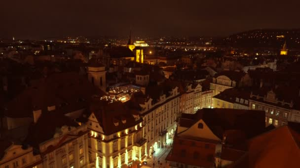 Aerial Panoramic View of Prague Featuring the Old Town Square at Night