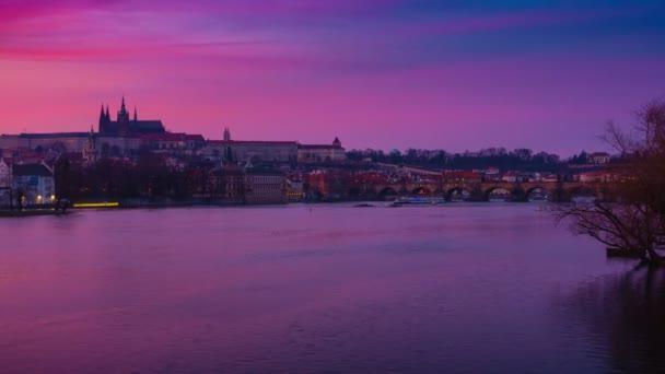 Vltava and Charles Bridge Dusk to Night Timelapse in Prague