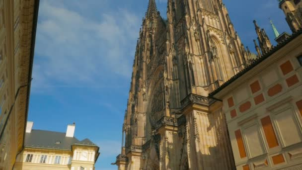 Cinematic Panning Shot of the Front Side of St Vitus Cathedral