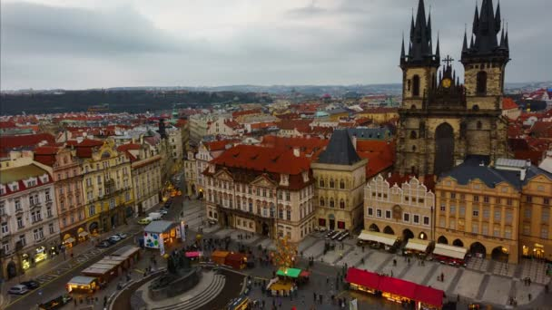Prague Old Town Square Dusk to Night Timelapse