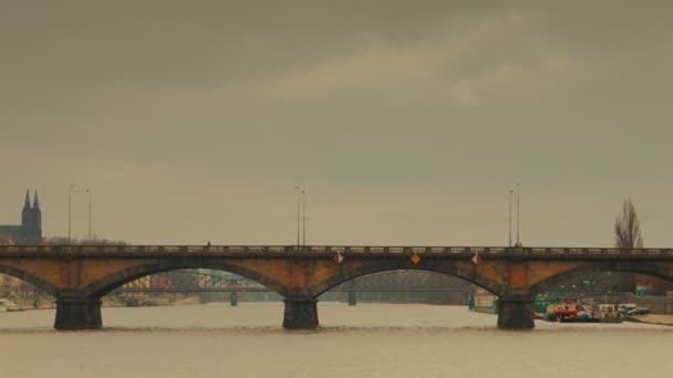 Panoramic View of the Palacky Bridge from Vltava River in Prague