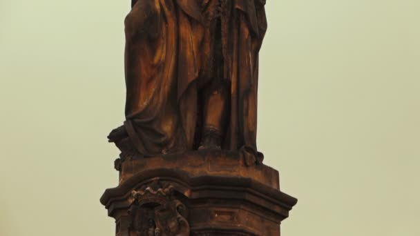 Detail of a Religious Statue in Charles Bridge Prague