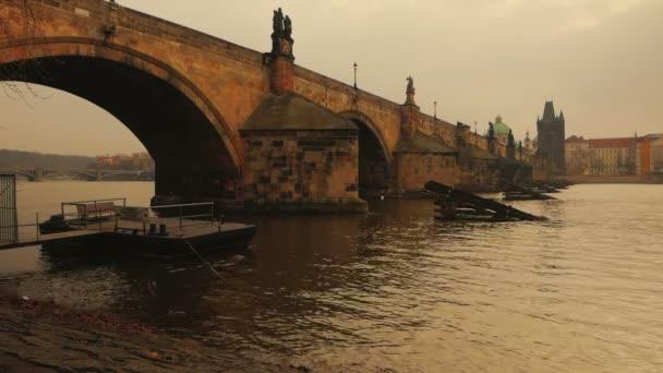 Vltava River Flowing Under Charles Bridge in Prague