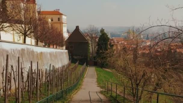 Kráčí sadem v starém městě pražském s panoramatickým výhledem