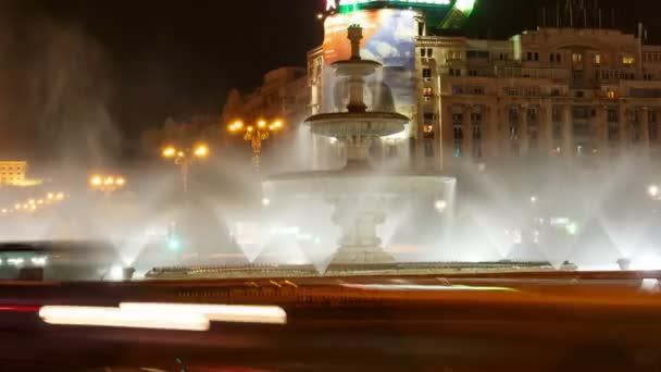 Bucharest, Romania Night Timelapse in the Roundabout at Union Square (Piata Unirii) with Parliament in the Background