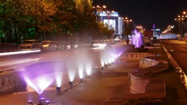 Bucharest, Romania Night Timelapse of the Water Fountains at Union Square (Piata Unirii)