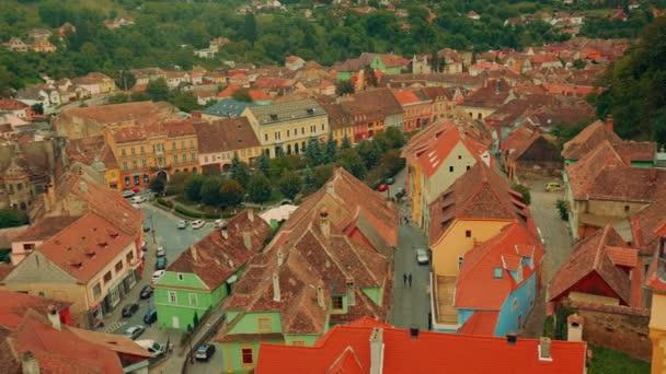 Close-up, Panoramic View of Sighisoara City in Transylvania, Romania