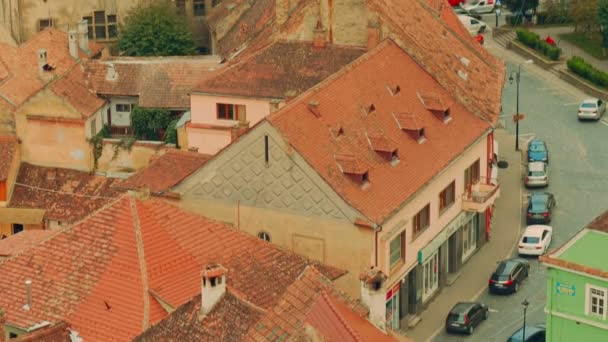 Ultra Close-up, Panoramic View of Sighisoara City in Transylvania, Romania