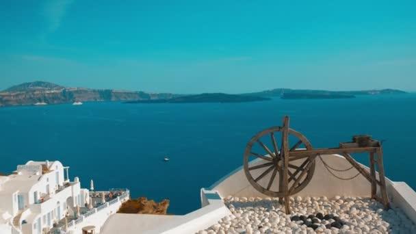 Establishing Vacation Shot Showing a Wooden Winch in a Mediterranean Island