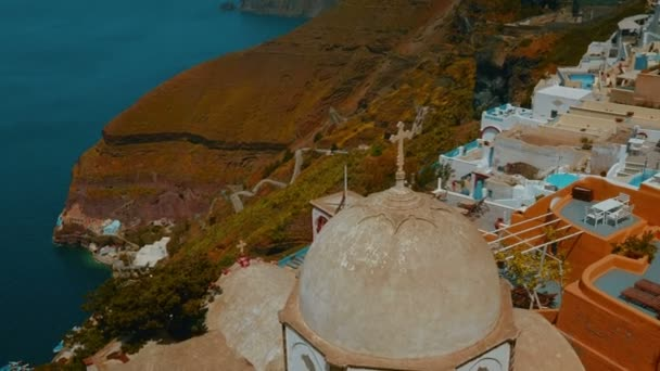 Establishing Wide Angle Shot of a Traditional Cycladic Village and the Aegean Mediterranean Sea