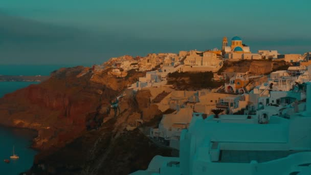 Panoramic View Santorini Cliff and Aegean Sea at Dawn