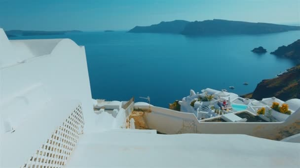 Tilting Shot Mediterranean Coast Greek Island of Santorini