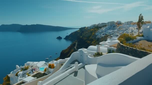 Tilting Panoramic Shot Santorini Cliff and Aegean Sea in the Afternoon