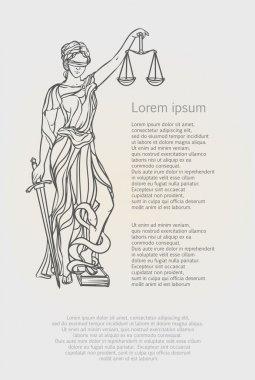 Themis goddess of justice. Femida vector illustration.