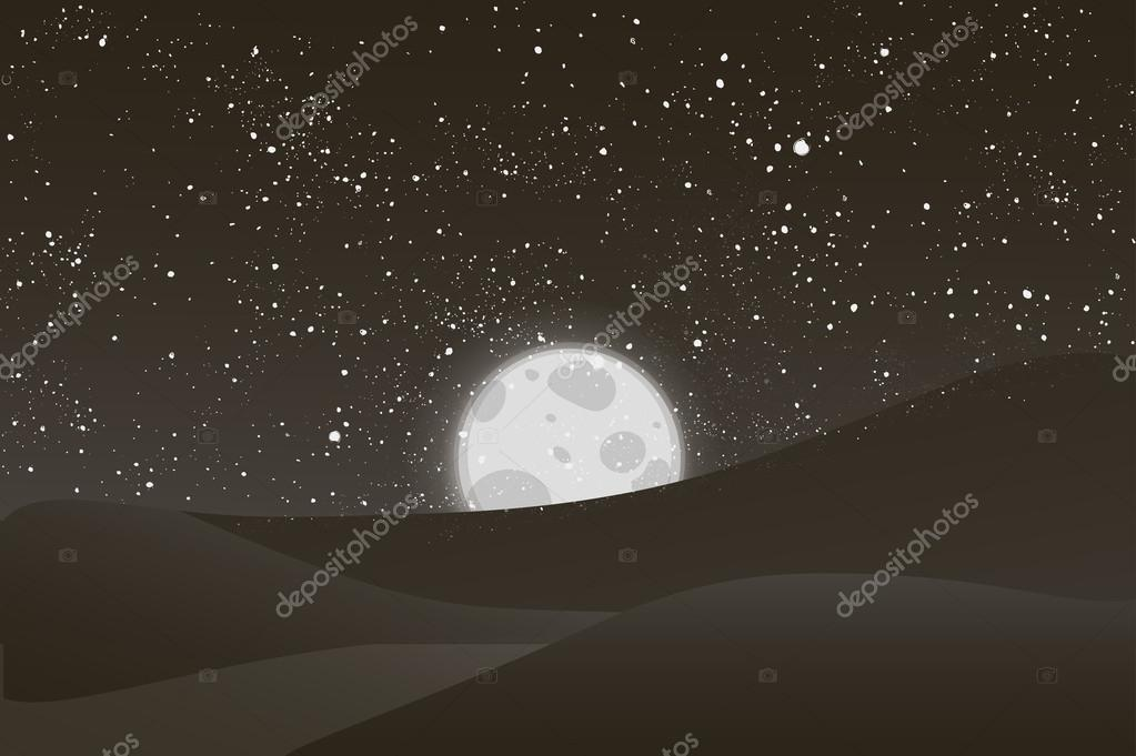 Night vector moon, shining stars on black and white sky.