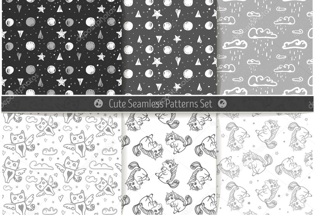 Cute hand drawn seamless fantasy patterns.