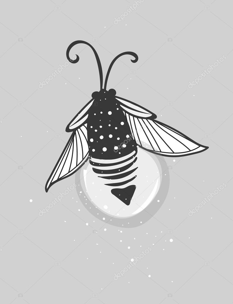 Hand-drawn cute cartoon firefly bug design.