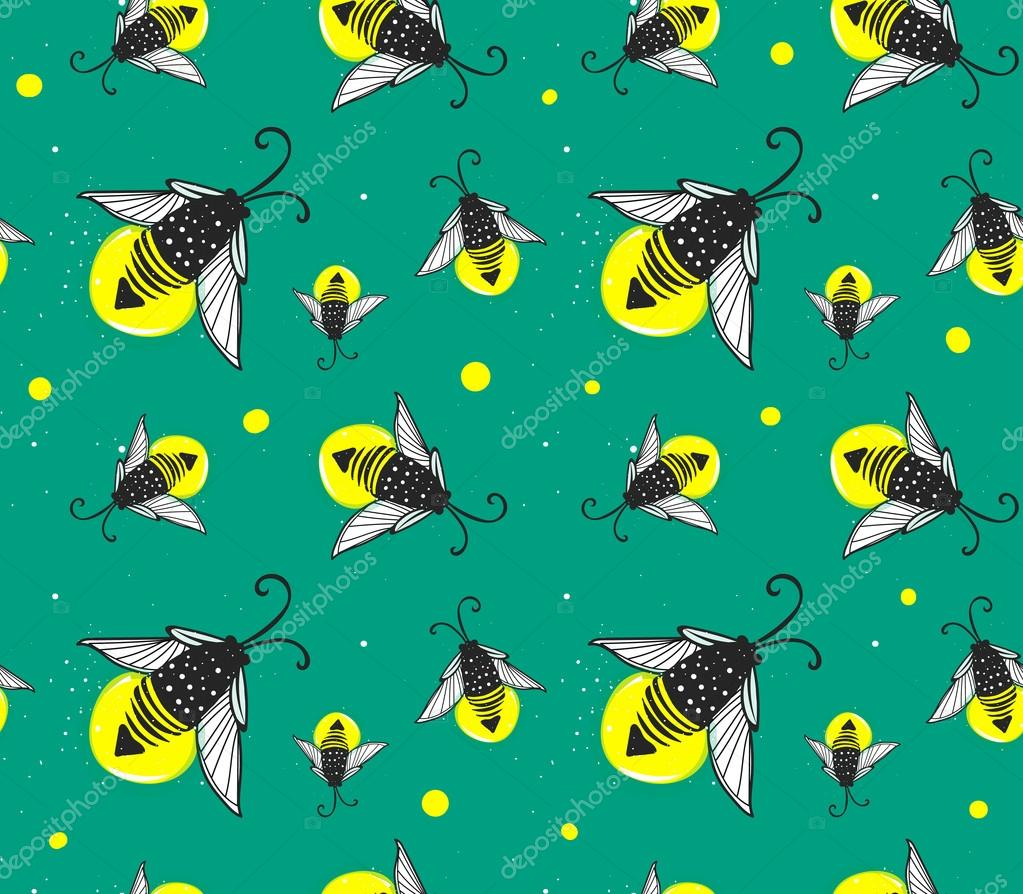 Hand-drawn seamless cartoon fireflies bugs design.