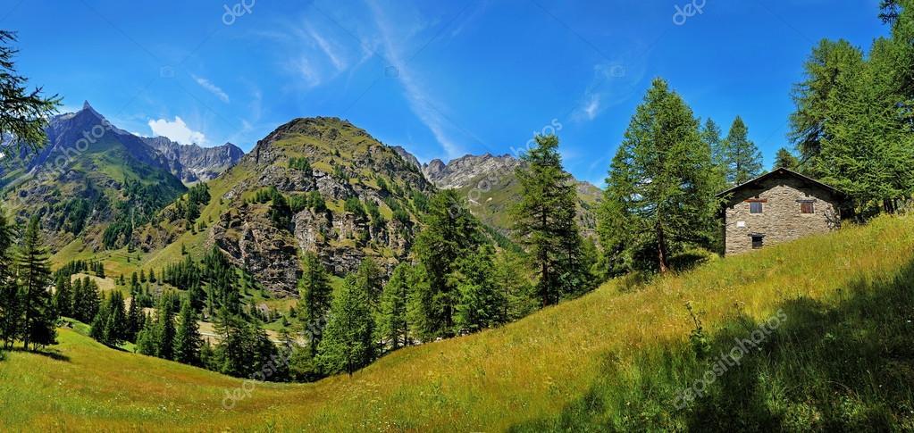 Alpien panoramic view vith mountain house