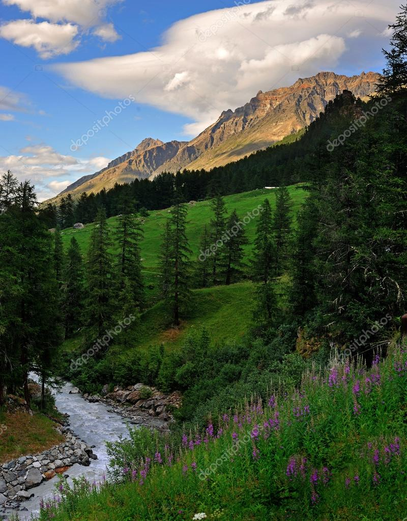 Beautiful alpien mountain landscape in Rhemes Notre Dame, Aosta Valley