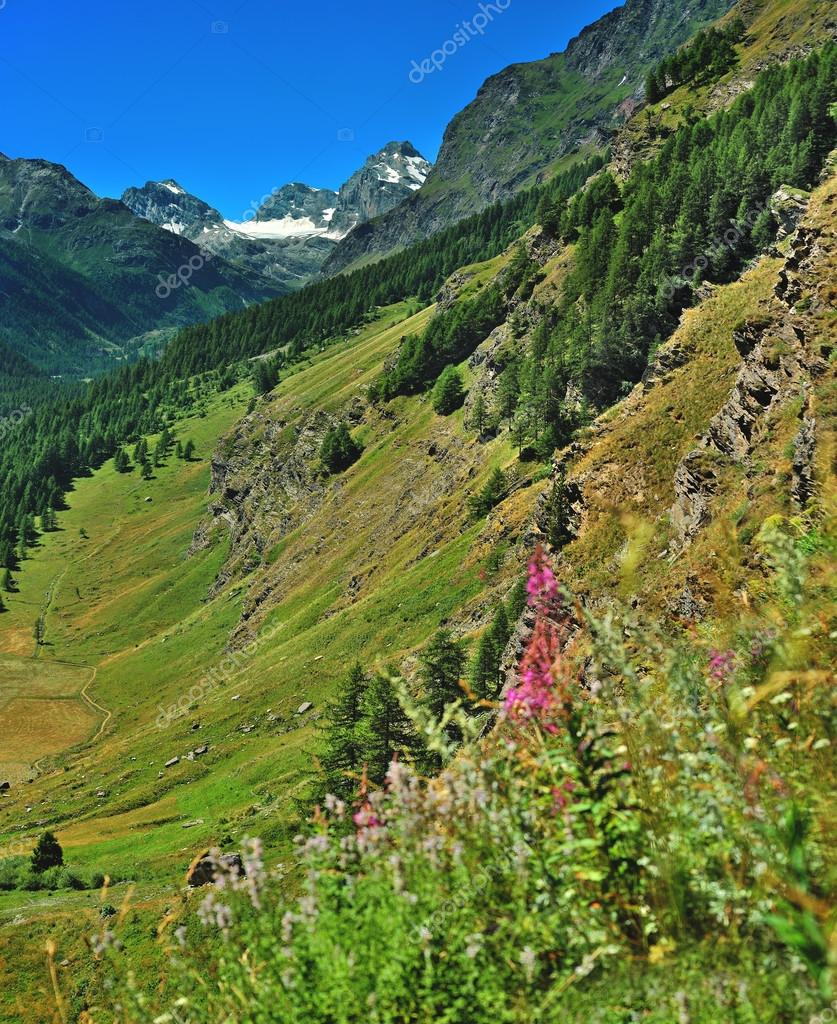 alpien mountain landscape in Aosta Valley, Italy