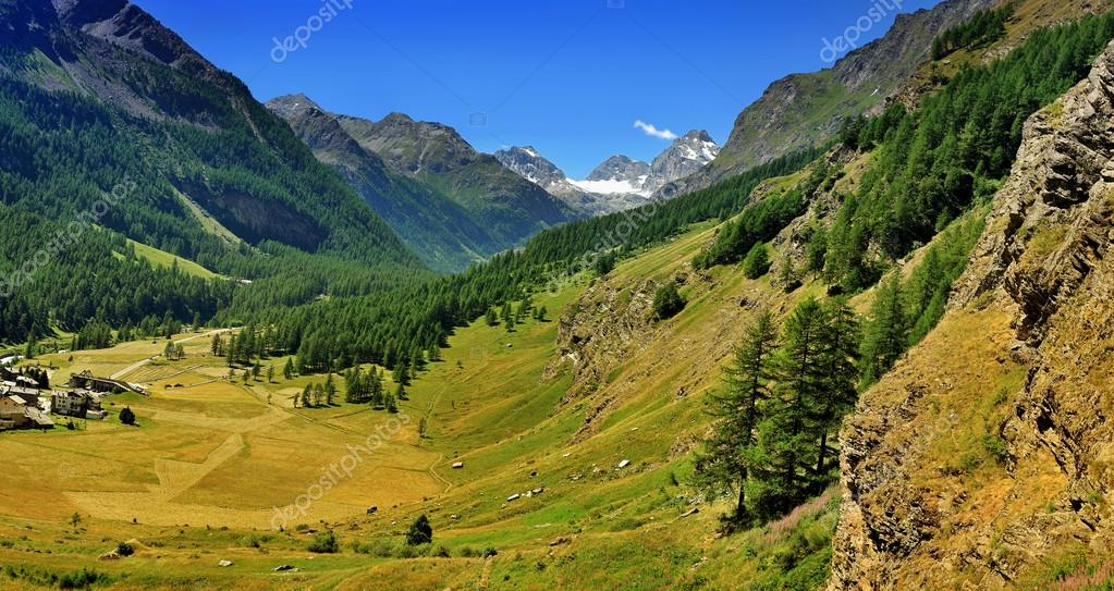 Big panorama of Alps valley in Val di Rhemes