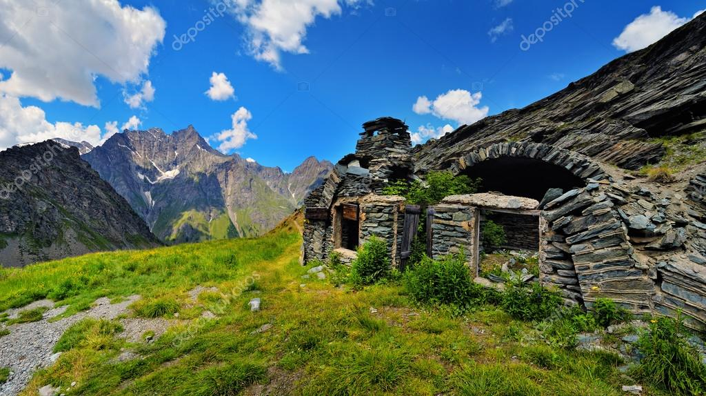 ruins of old farm at alpien mountains