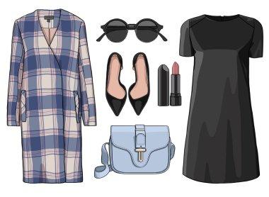 Lady fashion set of autumn, winter season outfit. Illustration stylish and trendy clothing.
