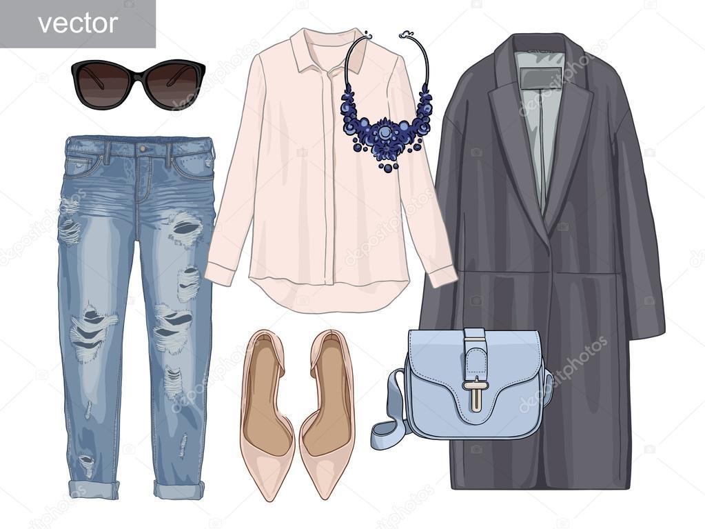 cbb21dfed00309 Lady mode ingesteld van herfst seizoen outfit. Illustratie stijlvolle en  trendy kleding. Jas