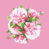 virág bazsarózsa akvarell keze felhívni a romantikus minta
