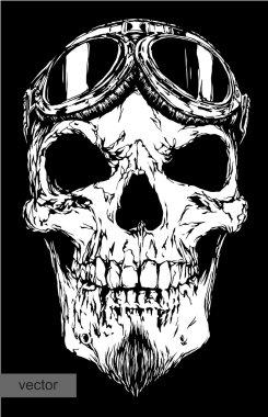 skull with beard on glasses pilot