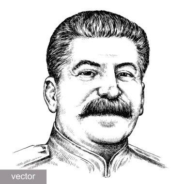 May 9 1945: vector illustration of Supreme Commander-in-Chief Joseph Stalin portrait. Engraving sketch stock vector
