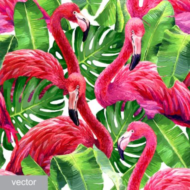 Pink flamingo, monstera leafs, palm leaf. Seamless tropical summer pattern. Exotic textile. Vector clip art vector