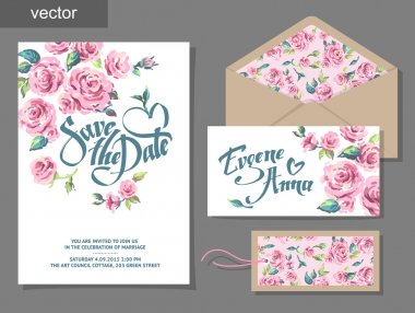 Vector set of invitation cards with illustration of flowers