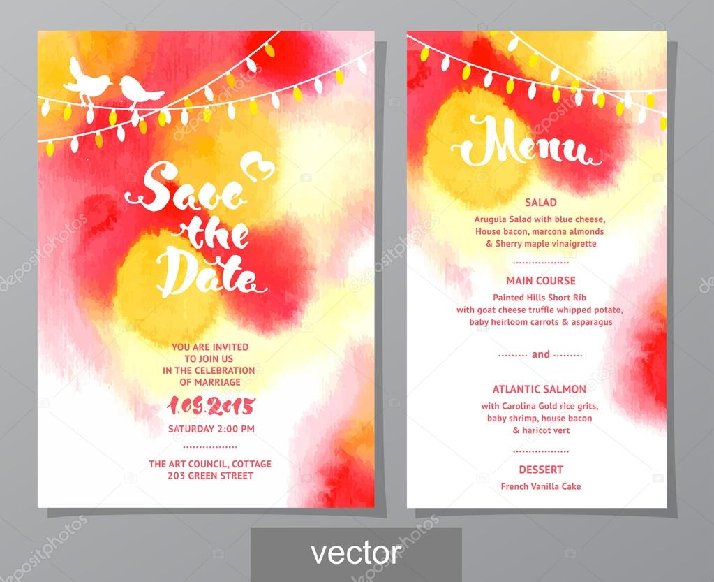 Vector set of invitation cards with watercolor elements vetores de vector set of invitation cards with watercolor elements vetores de stock stopboris Gallery