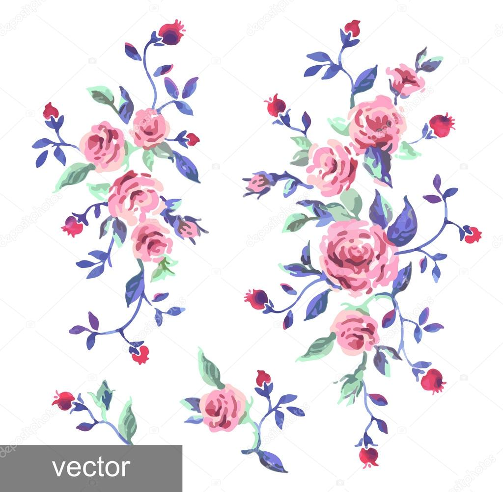Ornamental pattern of leaves and roses