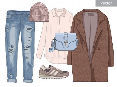 Lady fashion set of outfit. Stylish and trendy clothing