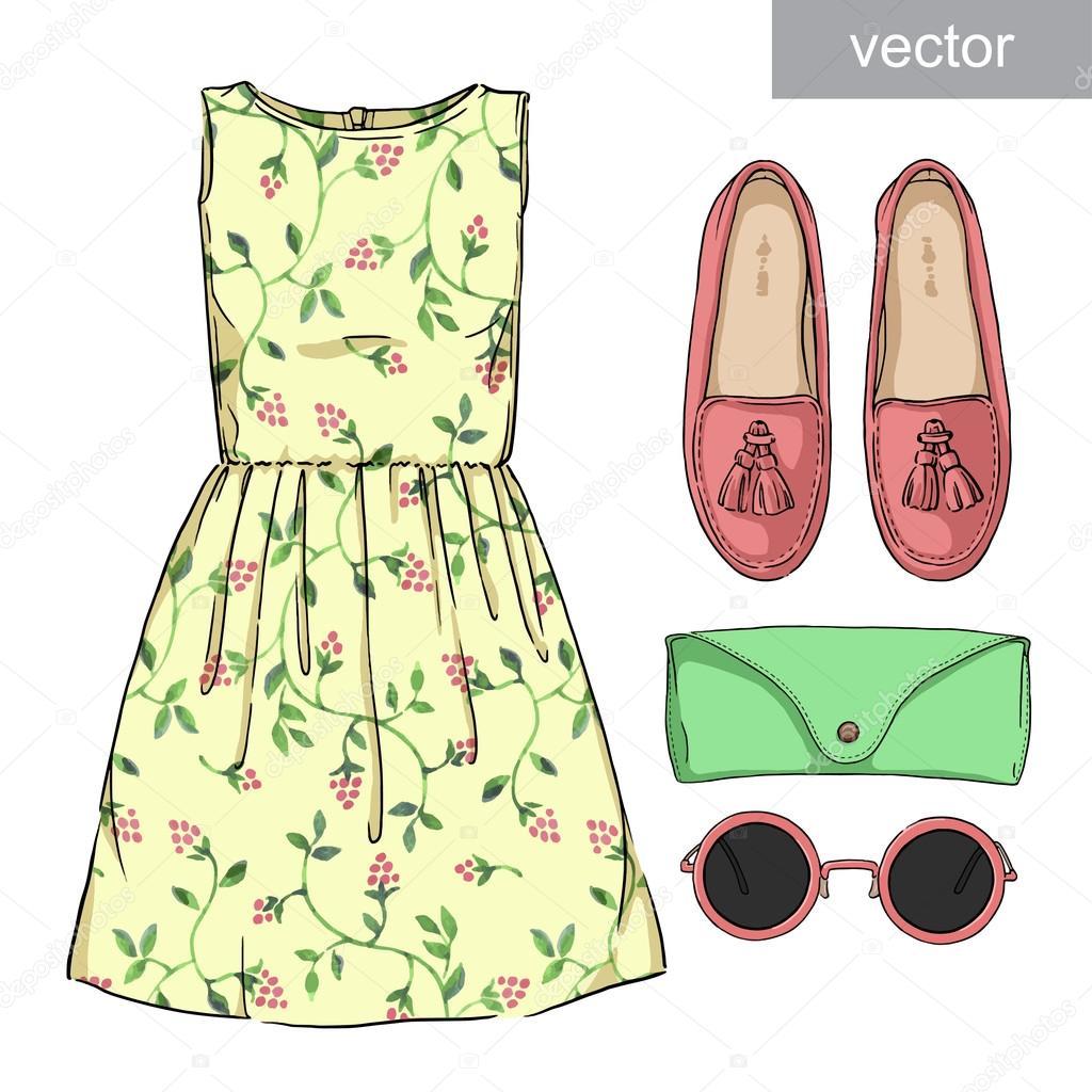 1c26ebeea Dama moda set de vestimenta. Ropa elegante y de moda — Vector de ...