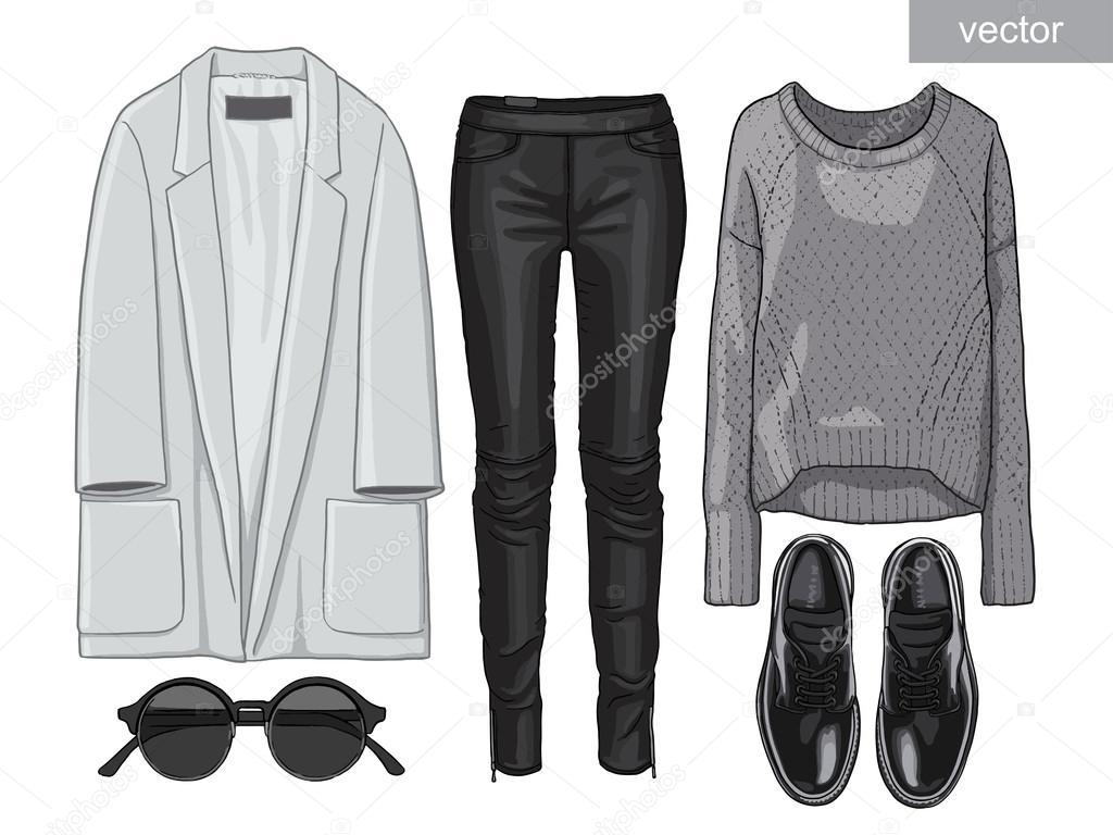 Trendy Kleding.Lady Mode Set Van Outfit Stijlvolle En Trendy Kleding Stockvector