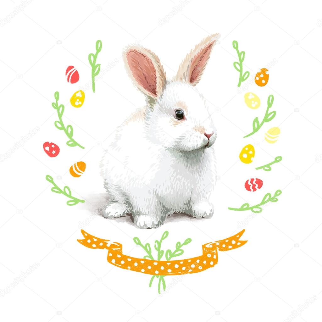 Easter realistic little rabbit illustration