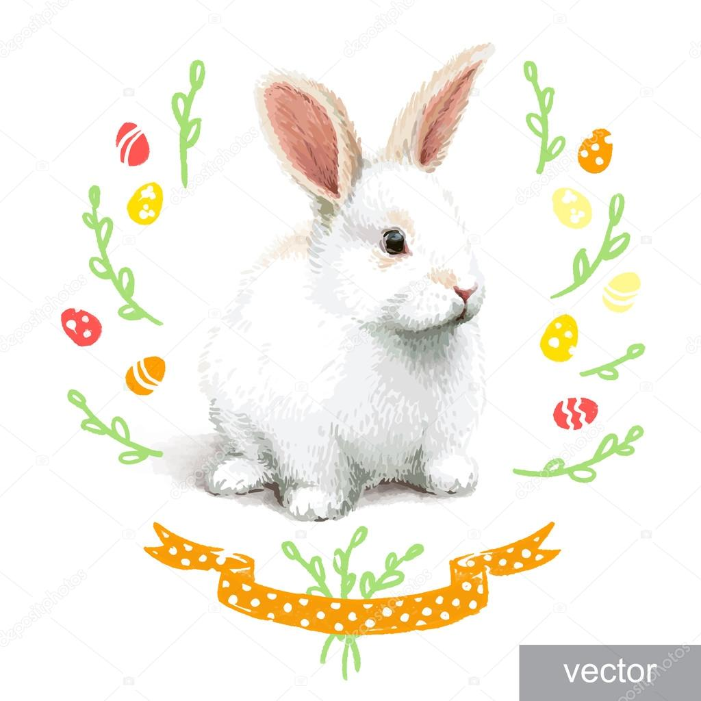 Easter realistic little rabbit illustration. Vector.