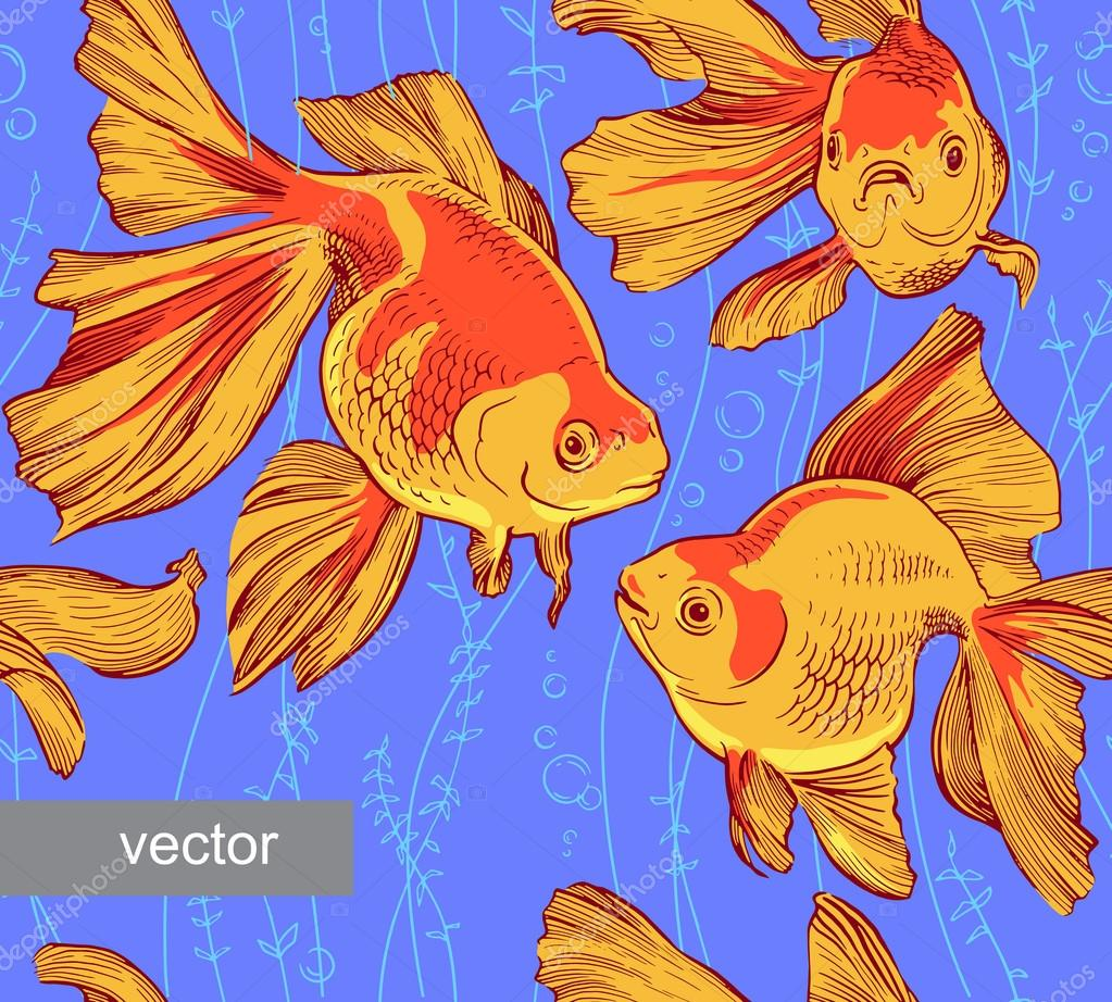 Goldfish illustration artwork line underwater pattern seamless texture  vector