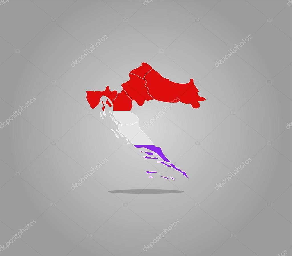 Carte Croatie Avec Regions.Carte De La Croatie Avec Les Regions Photographie