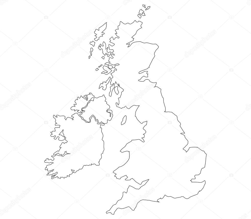 Großbritannien Karte Umriss.Großbritannien Karte Auf Weißem Hintergrund Stockfoto