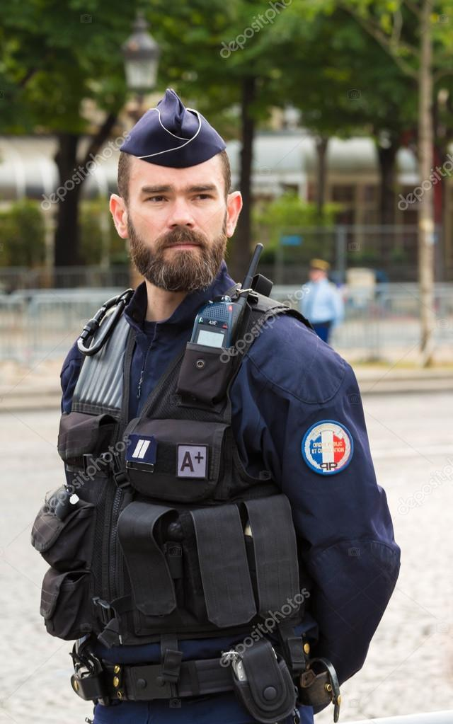 The French policeman on duty in Bastille Day military