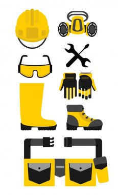 Set of protective equipment. Cartoon flat vector illustration. Objects isolated on a background. stock vector