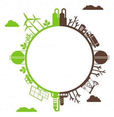 silhouette planet polluted and environmentally friendly plants