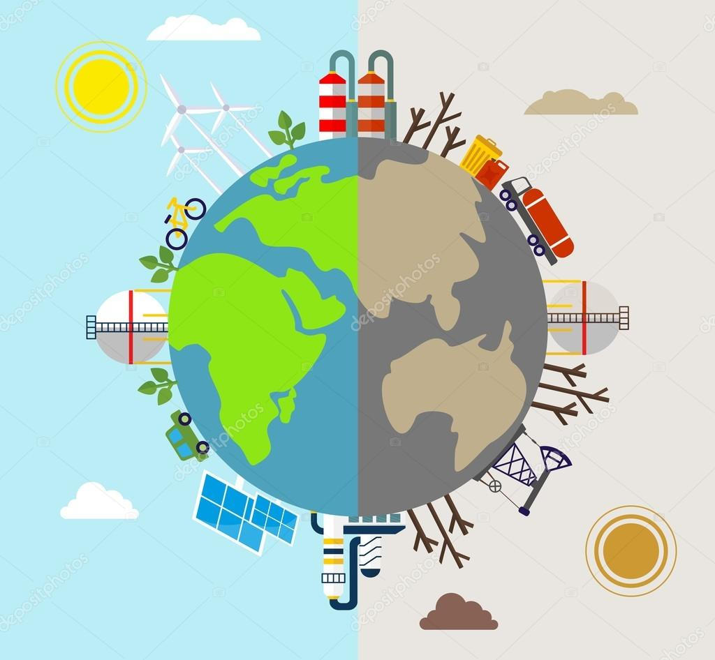 planet polluted and environmentally friendly plants