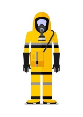 workwear man in gas mask