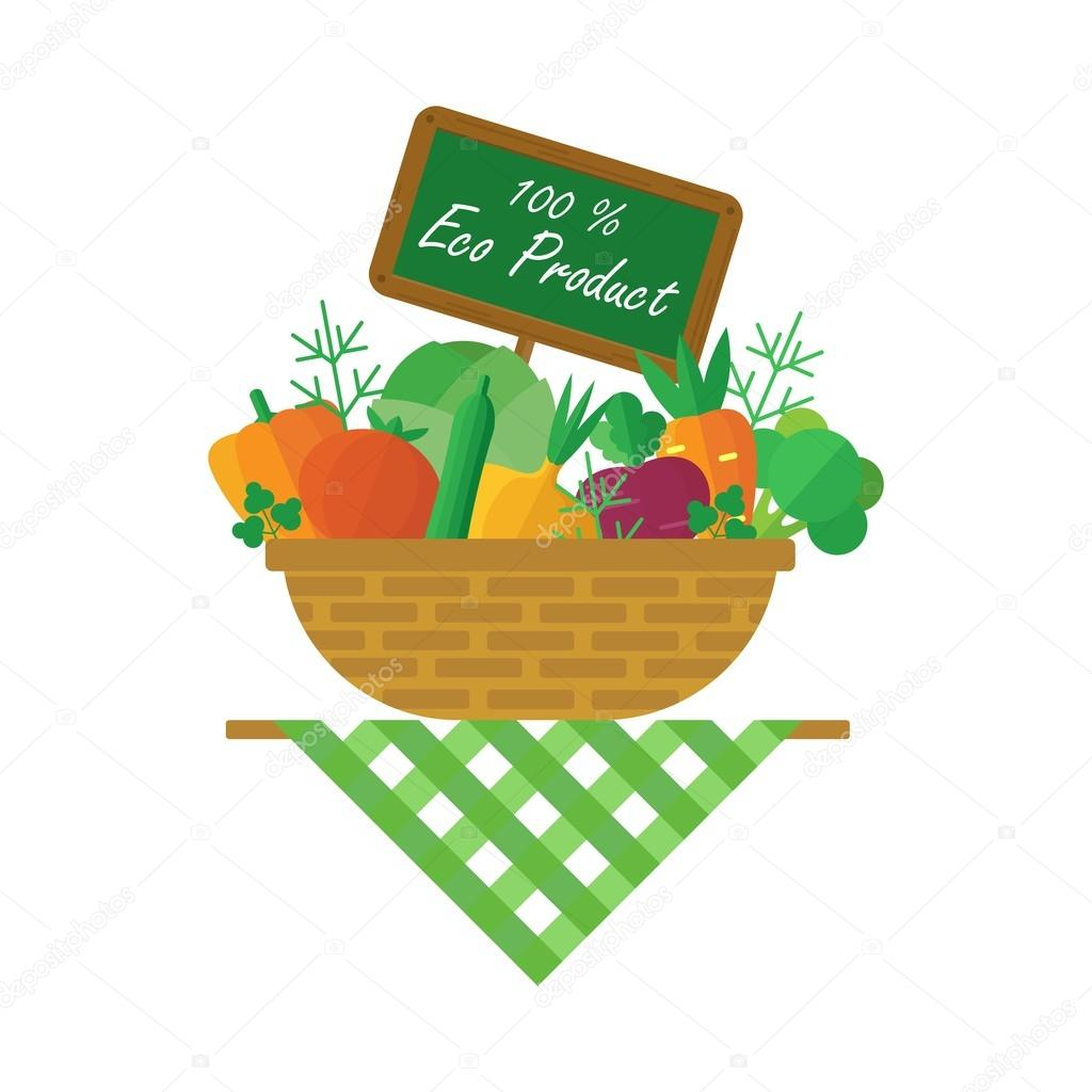 basket with crop vegetables